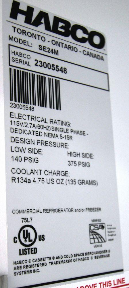 HABCO MODEL SE24M SINGLE DOOR REACH-IN COOLER, 115V, 1 PHASE, S/N 23005546 - Image 4 of 4