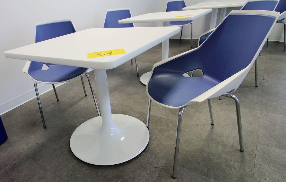 "SPEC 30"" SQUARE SINGLE PEDESTAL CAFETERIA TABLE W/ (2) VIVA CHROME & PLASTIC CHAIRS - Image 2 of 2"