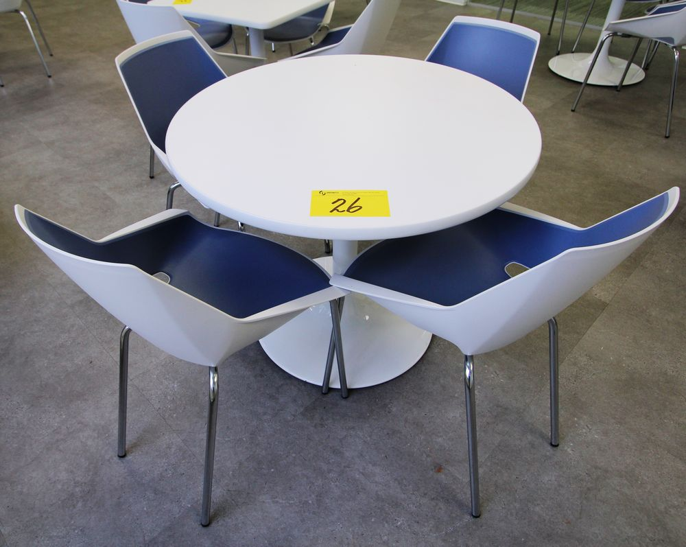 ROUND SINGLE PEDESTAL TABLE C/W (4) VIVA CHROME & PLASTIC CHAIRS