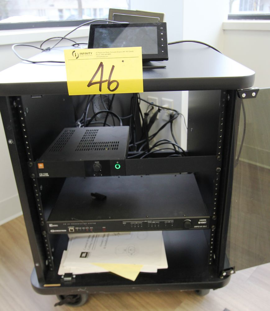 CRESTRON VIDEO SYSTEM C/W JBL CSA1120Z DRIVECODE UNIT & PORTABLE STORAGE RACK - Image 2 of 4