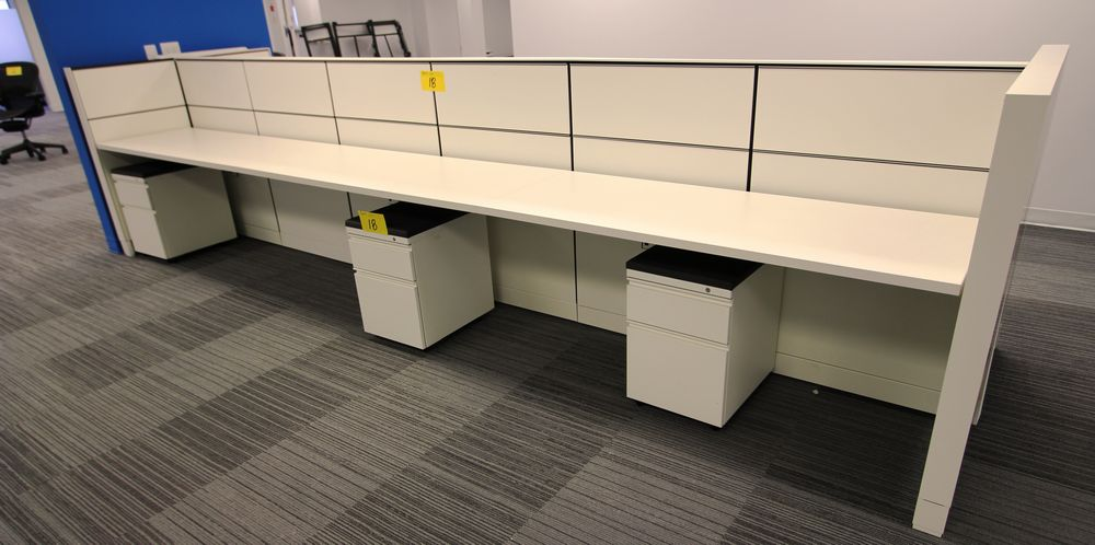 "2016 HERMAN MILLER 23"" X 180"" LONG DOUBLE SIDED WORKSTATION C/W (6) STORAGE CABINETS, ALL POWERED"
