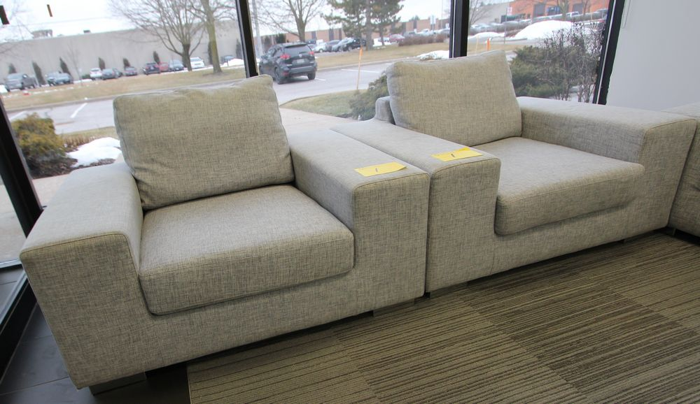 LOT (2) GREY FABRIC LOW PROFILE ARMCHAIRS - Image 2 of 2