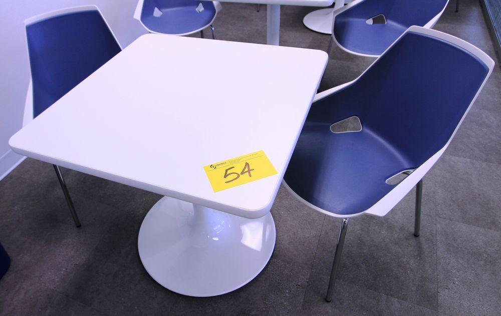 "SPEC 30"" SQUARE SINGLE PEDESTAL CAFETERIA TABLE W/ (2) VIVA CHROME & PLASTIC CHAIRS"