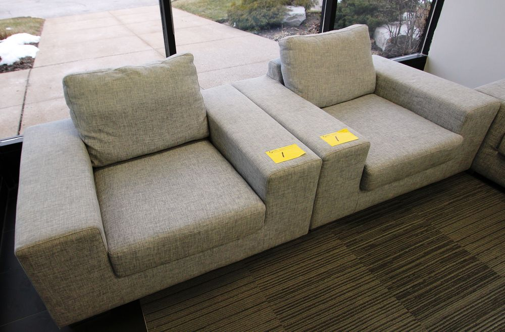 LOT (2) GREY FABRIC LOW PROFILE ARMCHAIRS