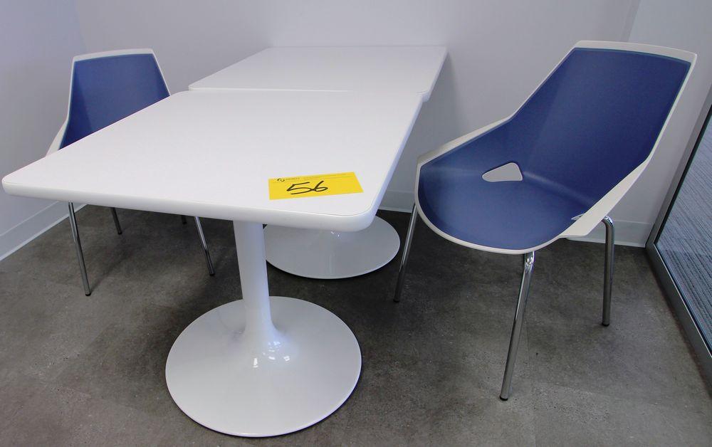 "LOT (2) SPEC 30"" SQUARE SINGLE PEDESTAL CAFETERIA TABLE W/ (2) VIVA CHROME & PLASTIC CHAIRS"