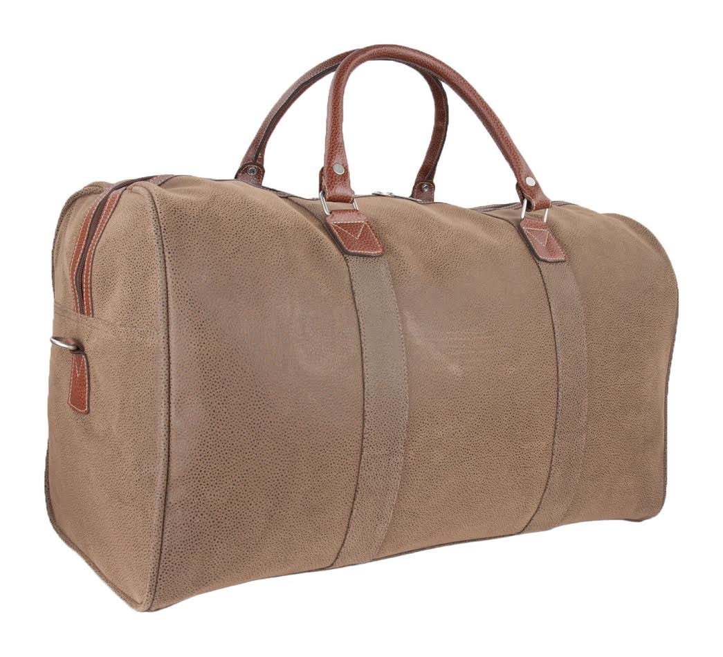 Lot 71517 - V *TRADE QTY* Brand New Canvas Style Weekend Travel Bag - Brown Leather Handle - Outside Zip