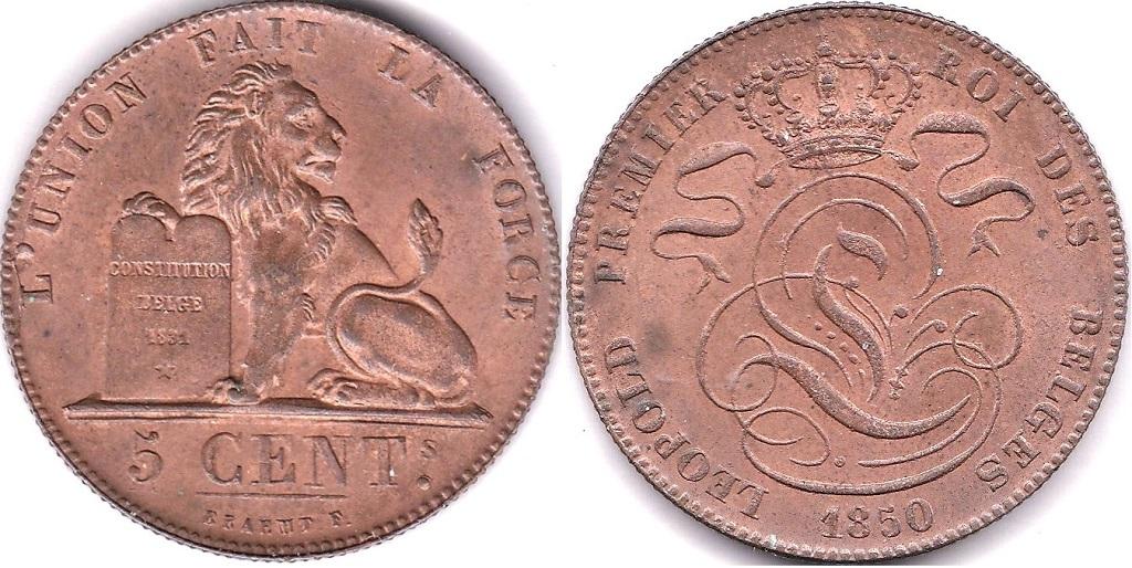 Lot 17 - Belgium 1850 Centimes, Km 1 GEF/AUNC Scarce, full lustre