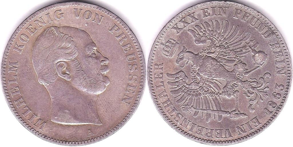 Lot 39 - Germany (Prussia) 1863A Thaler, KM 489, NEF