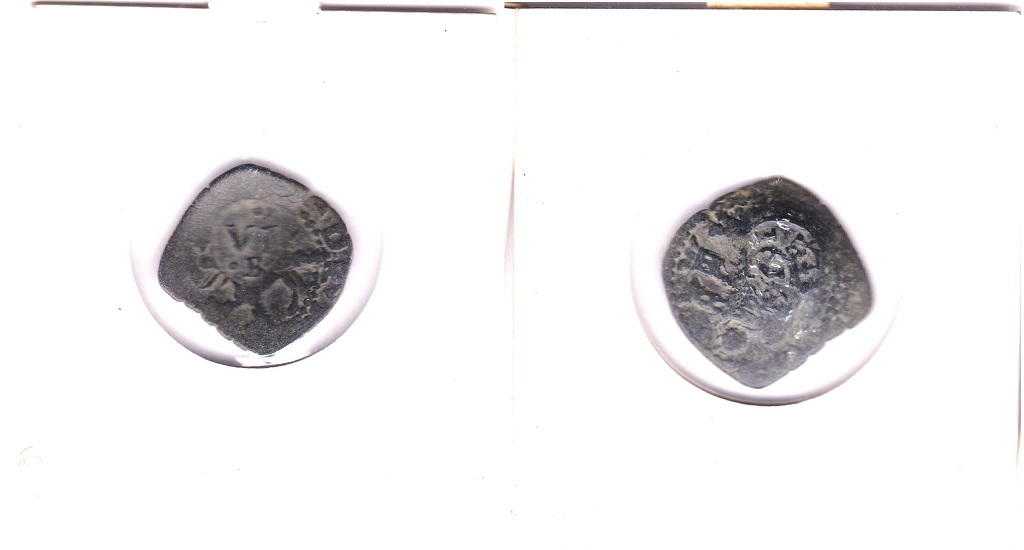 Lot 9 - Brazil 1636 Countermarked obv two Towers and 1636; rev V.I/R horse below