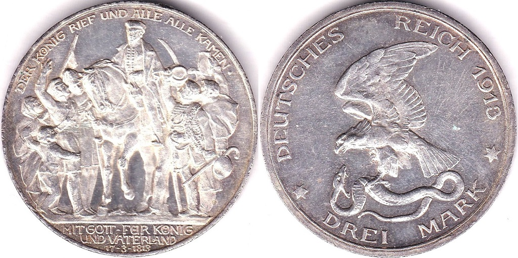 Lot 41 - Germany (Prussia) 1913A 3 Mark, KM 535 BUNC, a beautiful coin