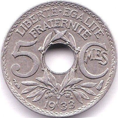 Lot 29 - France 1933 5 Centimes, KM ABC, Scarce