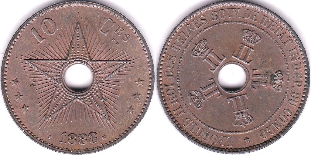Lot 19 - Belgian Congo 1888 10 Cents, KM 4, AUNC