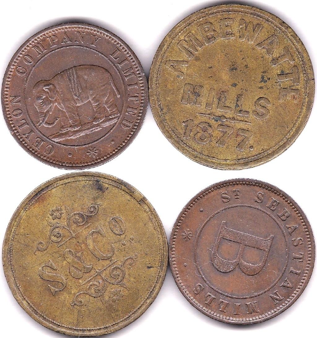 Lot 24 - Ceylon 1859 (ND) Copper Token, Sebastian Mills, 'B' at centre, obv Elephant at Centre, AUNC, a