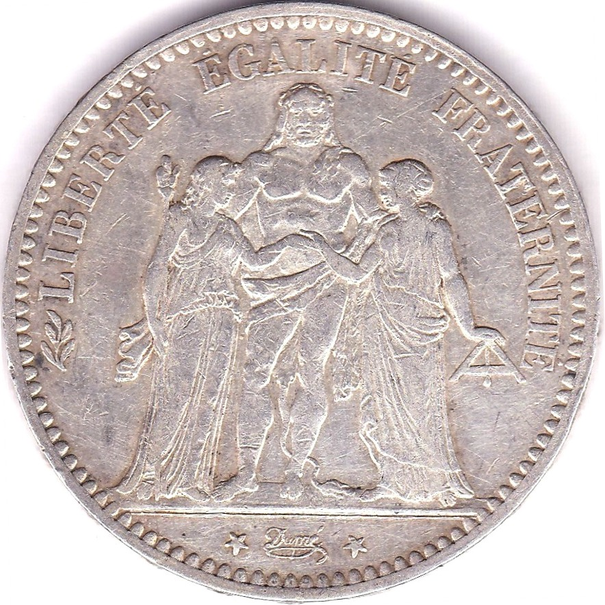 Lot 26 - France 1875A 5 Frances, AEF, KM