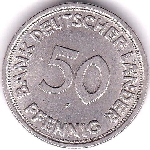 Lot 52 - Germany 1949F 50 Pfennig, KM 104, AUNC nice coin