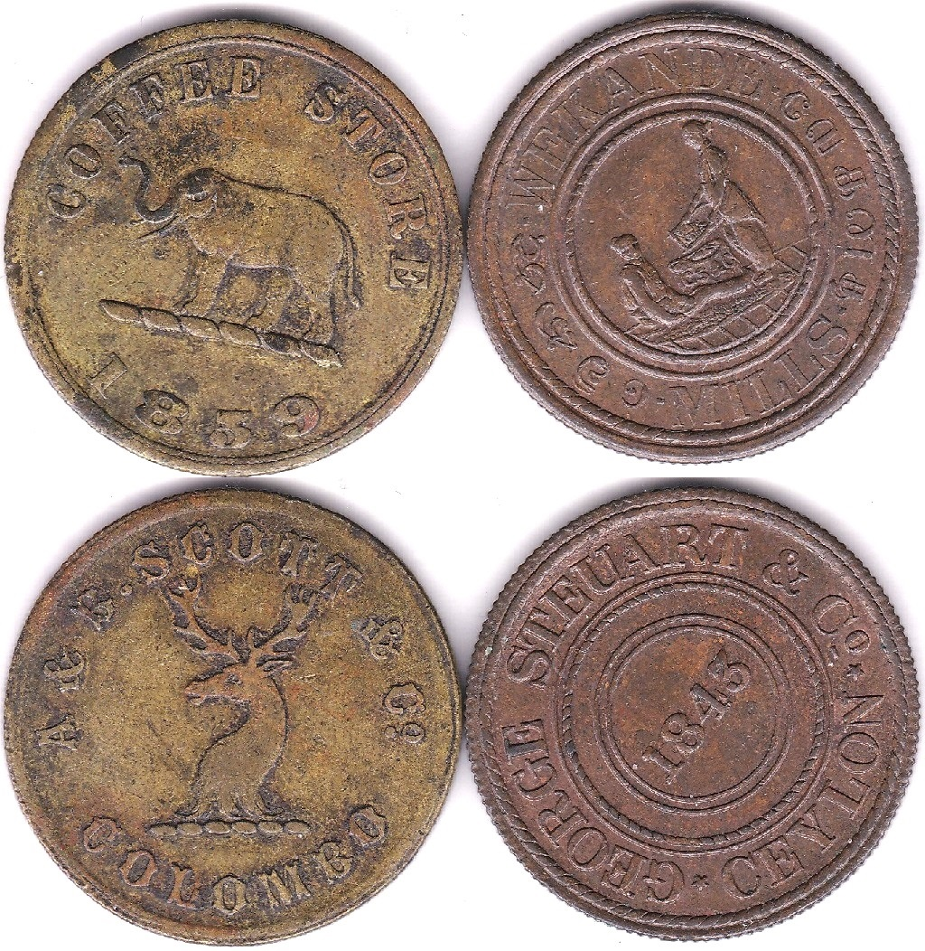 Lot 23 - Ceylon 1848 Token - Wekande Mills, George Steuart & Co/ Ceylon, date at Centre, rev Native