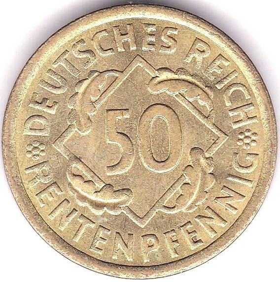 Lot 51 - Germany 1924 50 Renten Pfennig, KM 34, BUNC
