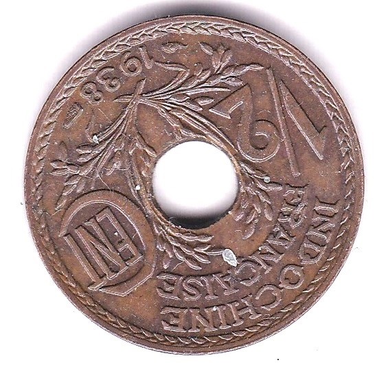 Lot 35 - French Indo- China 1938 Half Cent, KM 20, GEF, dark toning