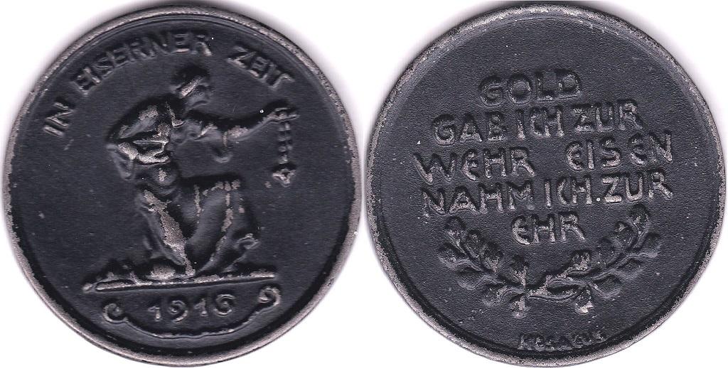 Lot 54 - Germany 1916 Bronze Medallion 40mm, In Eiserner Zeit/ rev Gold Gabich Zur Wehr Nammich Zur Ehr,