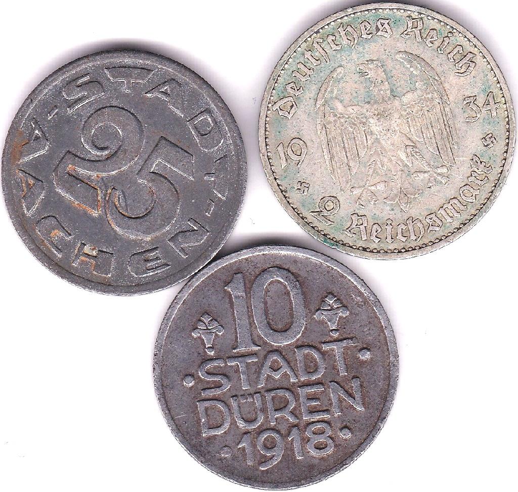 Lot 53 - Germany (Stadt Duren) 1918 10 Pfenning, VF, Steel, Germany (Archen) 1920 25 Pfennig, AEF, some