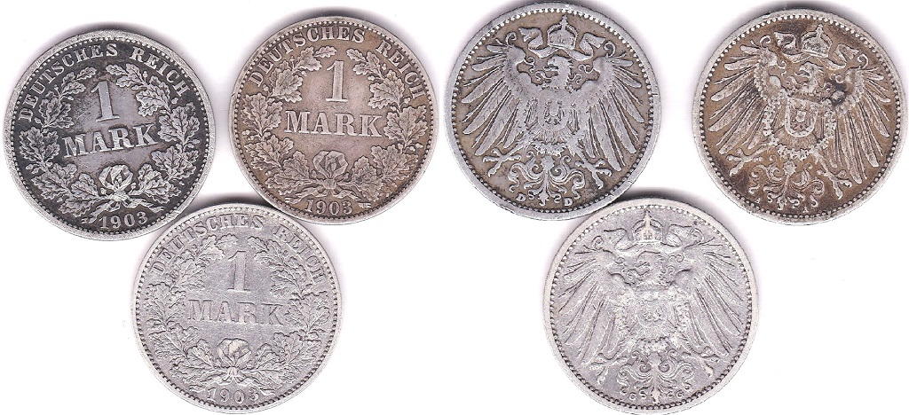 Lot 49 - Germany (Empire) 1903 A, Mark GVF KM14, Germany (Empire) 1903 D, Mark NVF KM14 and Germany (