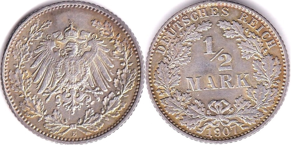 Lot 45 - German - Empire 1907 E Half Mark, KM17, BUNC choice low mintage, scarce