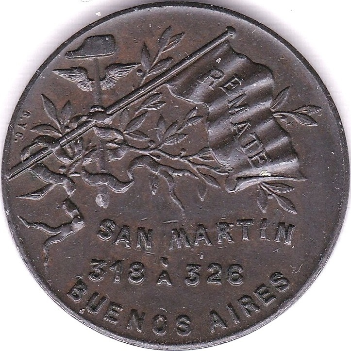 Lot 16 - Argentina - Buenos Aires San Martin copper Token. Flag 'Remate'; obv Roman Bravo & Co, AEF, scarce.