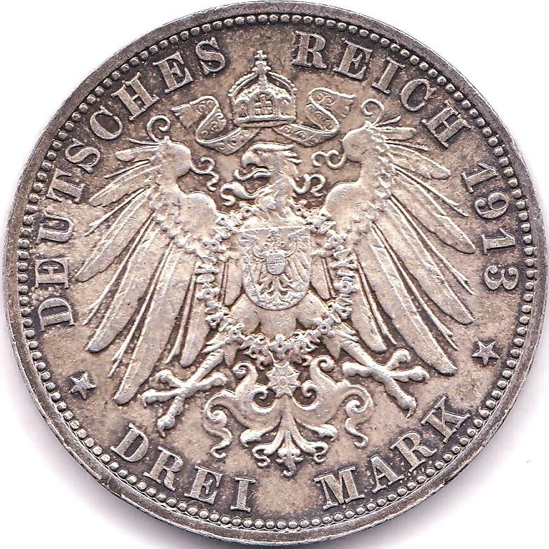 Lot 42 - Germany (Saxony) 1913E 3 Mark, AEF, KM 1275