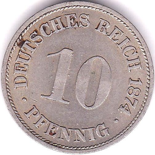 Lot 50 - Germany 1874B 10 Pfennig, GVF/NEF, KM 4