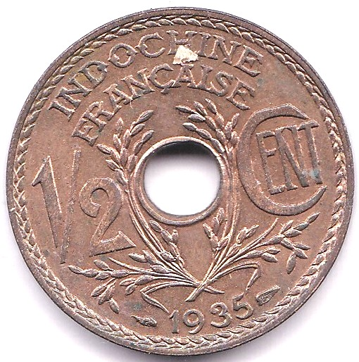 Lot 33 - French Indo-China 1935 Half Cent, KM 20, AUNC, full lustre