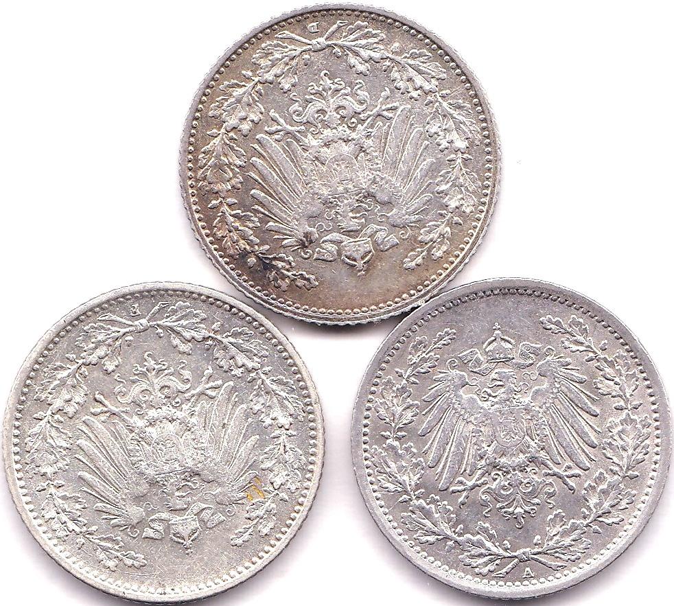 Lot 44 - Germany - Empire 1905 D Half Mark, BUNC KM17, Germany - Empire 1905 F Half Mark, UNC KM17 and