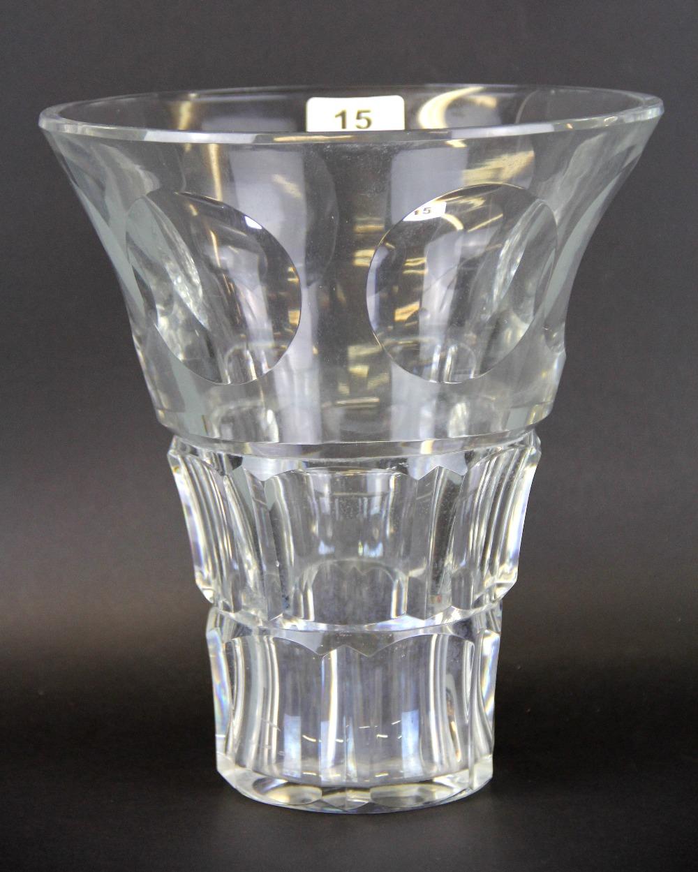 A Baccarat cut crystal vase, H. 25cm, Dia. 23cm.