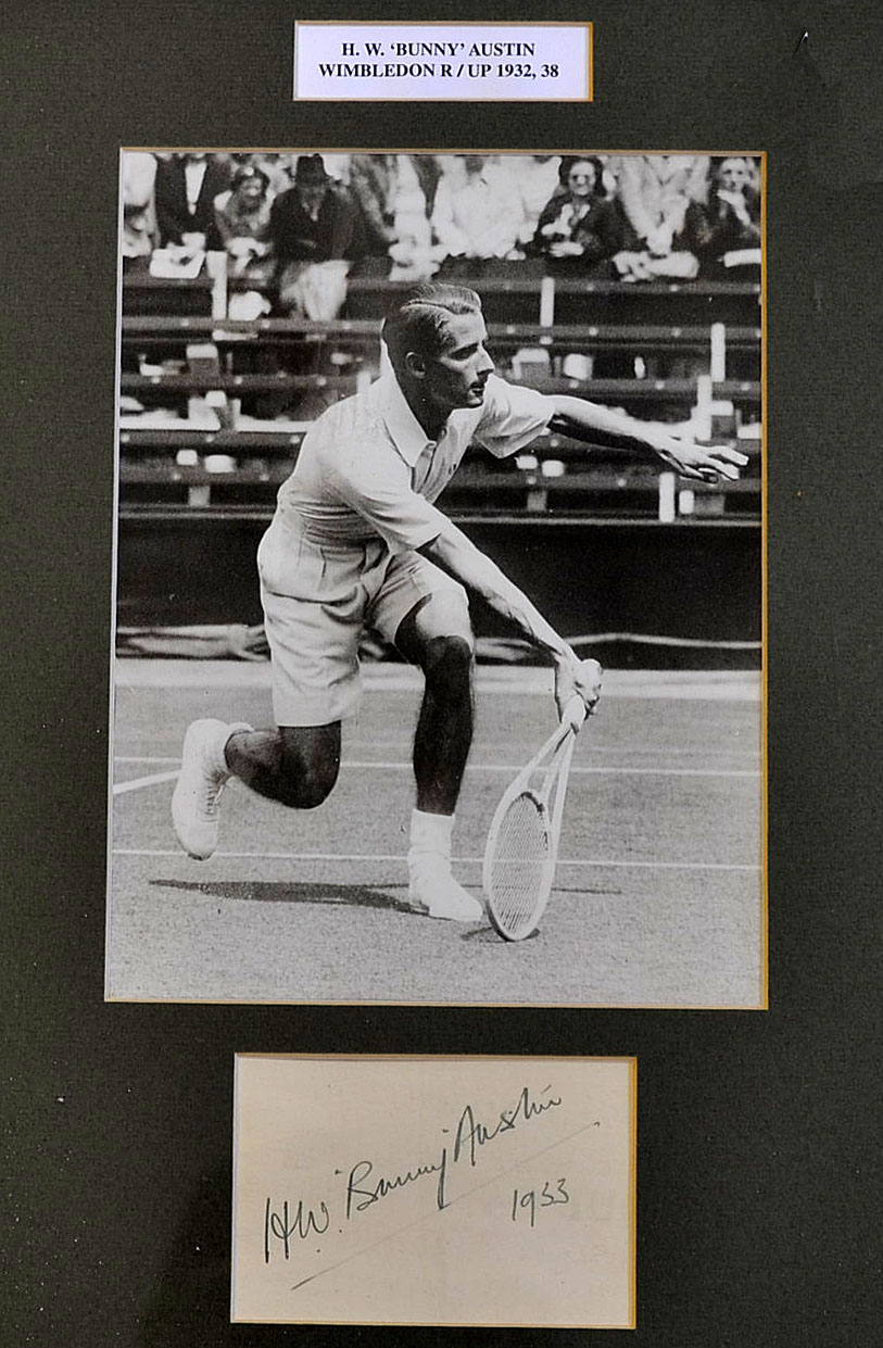 "H W ""Bunny"" Austin signed tennis display with good signature and"