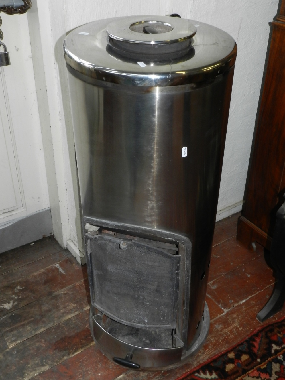 A Pithers stainless steel cylindrical radiant Stove 80-120, solid ...