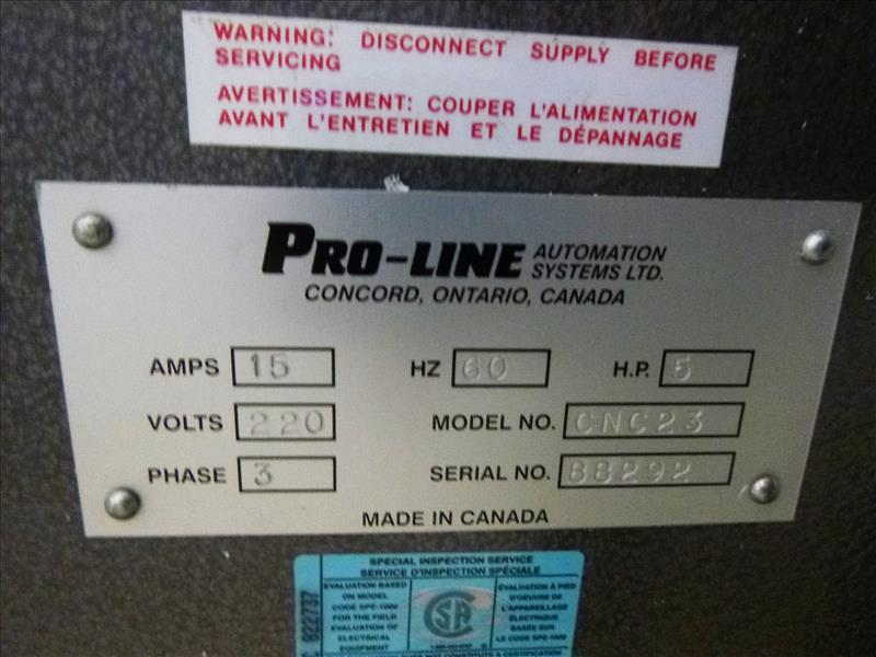 Lot 4 - Pro-Line Automation Pro-Clean 2-head corner cleaner, mod. CNC-23, ser. no. 88292 c/w E700 control (