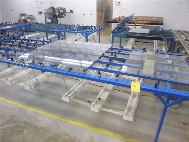 Lot 32 - (6) caster transfer/inspection tables in Insulating Glass Dept.