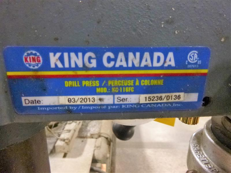 Lot 53 - King pedestal drill press (2013), 1/3 hp [Winner will be determined based on sum of bids on lots