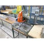 "Elumatec 14"" single mitre saw, mod. MGS72, ser. no. 32282 (ca. 1986) c/w Tiger Stop system & tables"