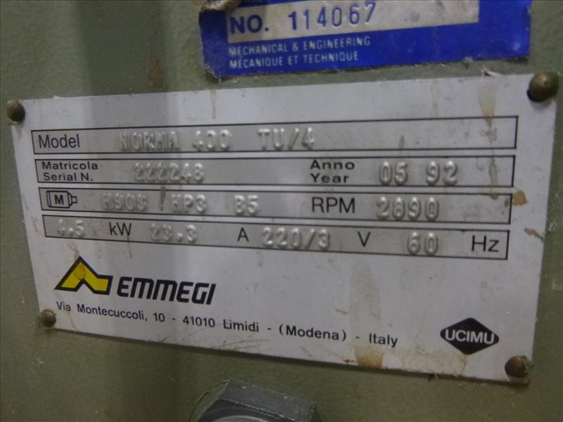 Lot 12 - Emmegi double-mitre saw, mod. Norma 400 TU/4, ser. no. 222248 (ca. 1992)