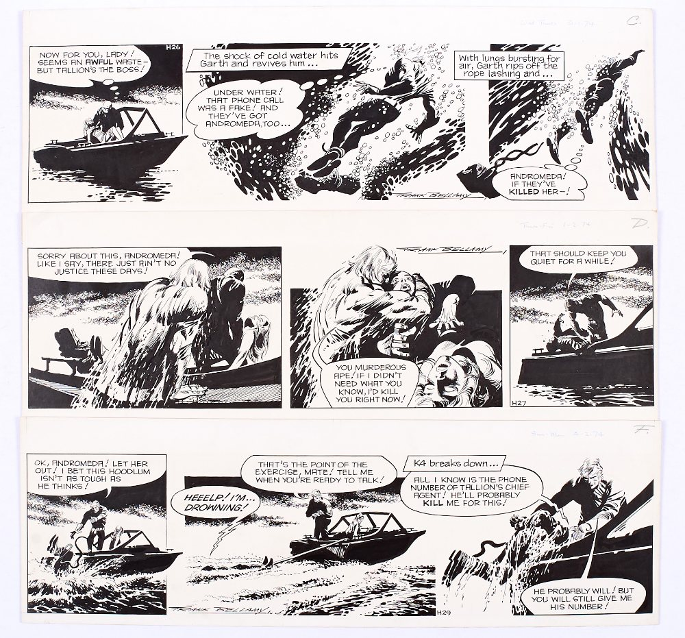 Lot 139 - Garth: 3 original consecutive artworks drawn and signed by Frank Bellamy from the Daily Mirror Jan/