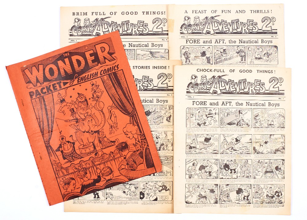 Lot 33 - The Wonder Packet of English Comics (1939 A. Soloway). Containing Comic Adventures 1-4, The Wrap