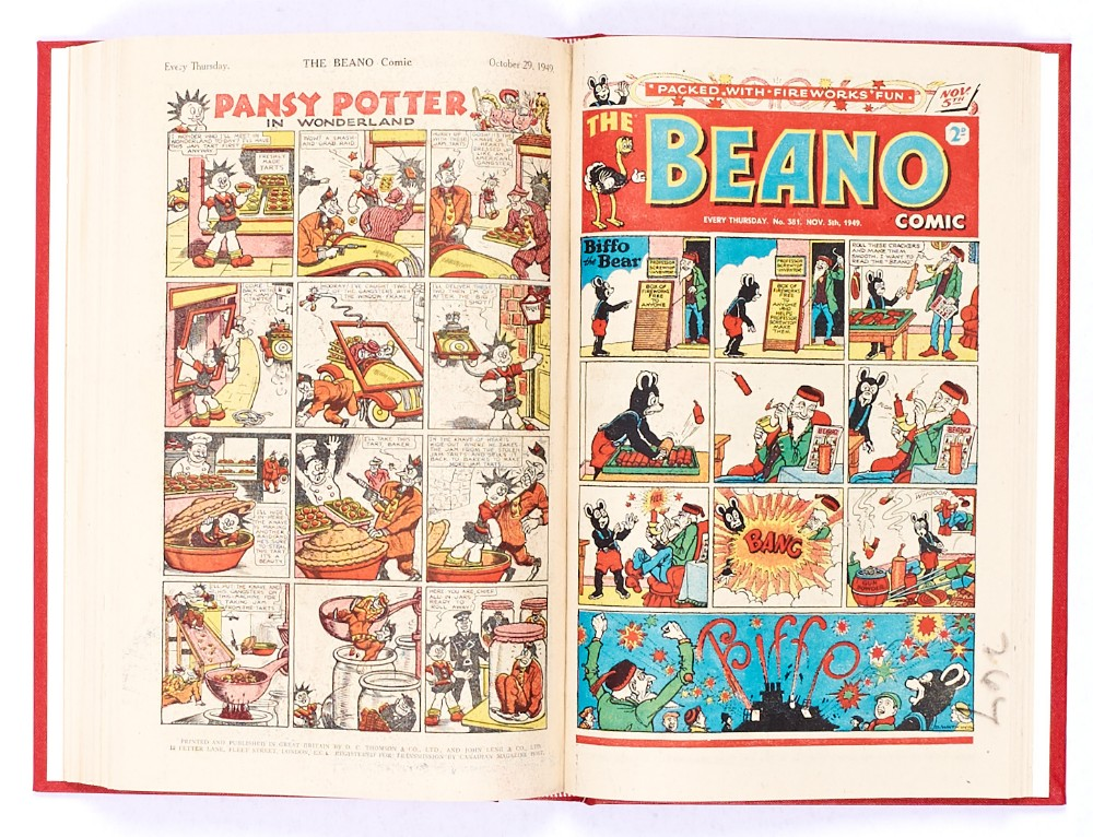 Lot 39 - Beano (1949) 352-389. Complete year in bound volume. First Jack Flash by Dudley Watkins, first Pansy