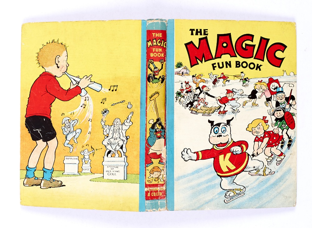Lot 55 - Magic Fun Book 1 (1941) Koko leads his Magic Fun skaters. Peter Piper back board illustration by