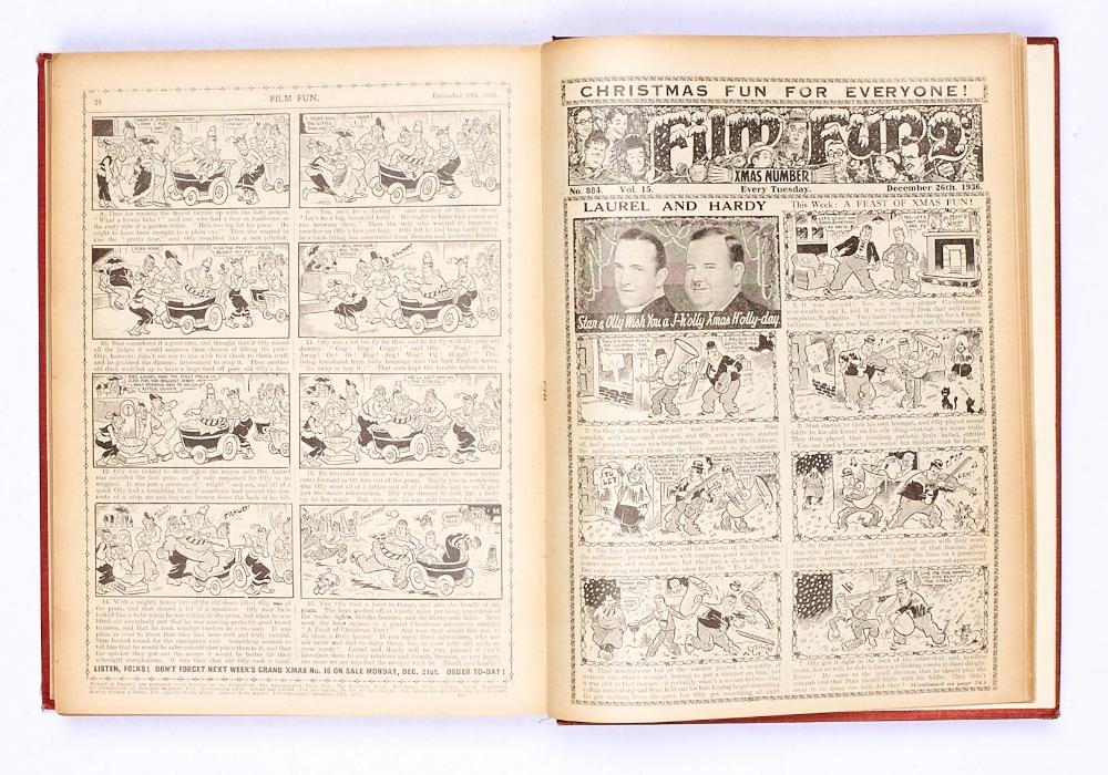 Lot 23 - Film Fun (Jul-Dec 1936) 859-884. In half-year bound volume. Publisher's file copies. Laurel & Hardy,