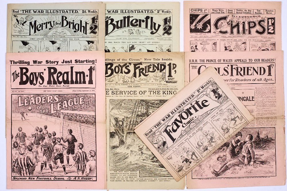 Lot 8 - WWI Story Papers (1914). Mostly propaganda war issues comprising Boys' Realm 641, Butterfly 522,