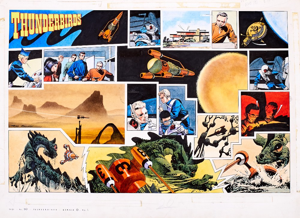 Lot 133 - Thunderbirds original double-page artwork (1966) drawn, painted and signed by Frank Bellamy for TV