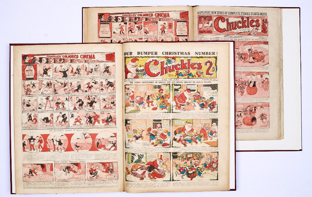 Lot 7 - Chuckles (1917) 157-208. Complete year in two bound volumes. Starring Tiger Tim, Breezy Ben and