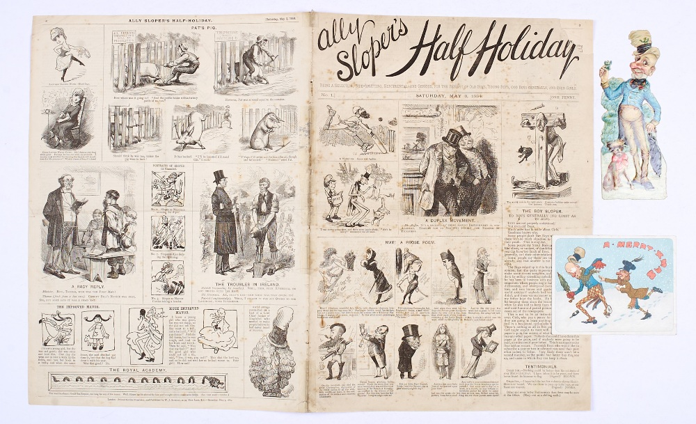 Lot 1 - Ally Sloper's Half Holiday No 1 (May 3 1884) [vg-]. With Ally Sloper Christmas Card and embossed