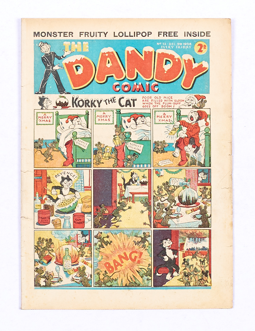 Lot 41 - Dandy 53 (1938). First snow-capped Xmas issue with ad for first Dandy Monster Comic. Some small