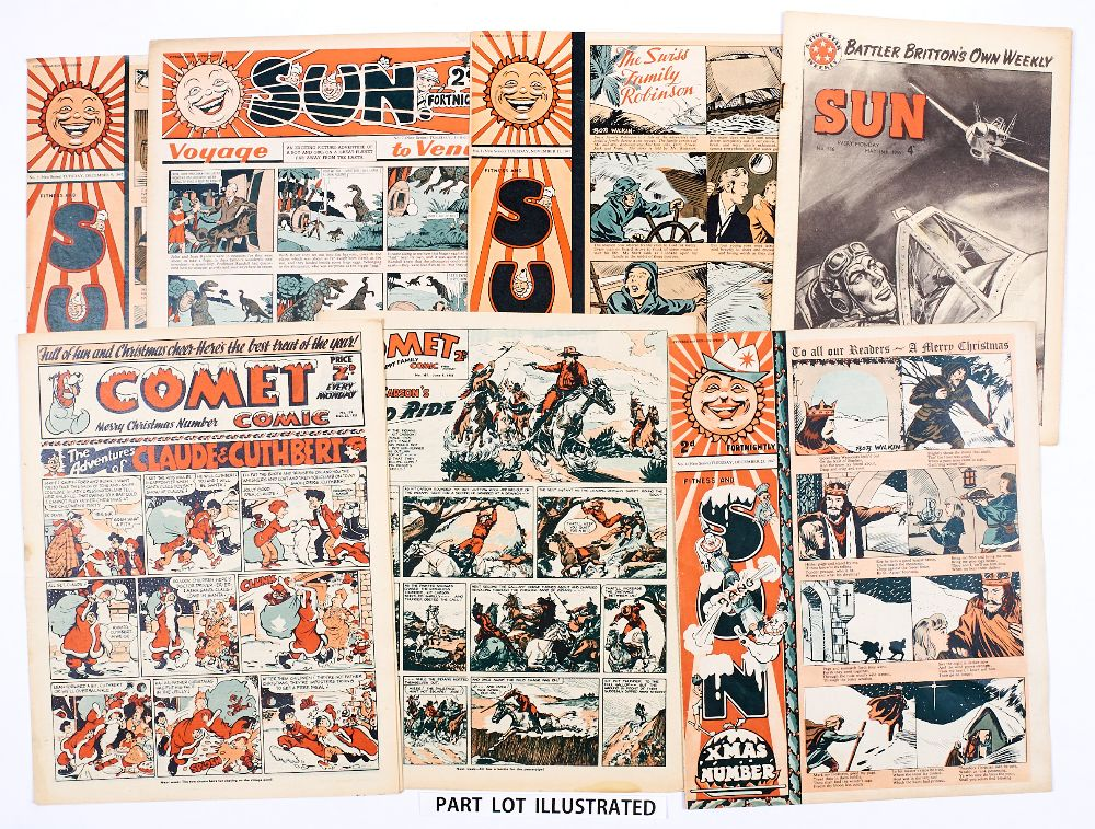 Lot 59 - Sun (1947-48) 1, 3-7, 10, 12, 13, 15-17, 19, 20 and 5 issues from 1959. With Comet (1951-52) 151-